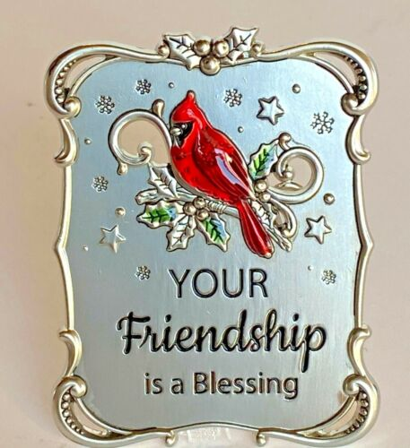 "Ganz Cardinal Mini Plaque or Ornament ""Your Friendship is a Blessing"""