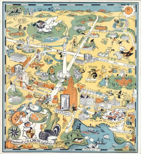 Baltimore to advertise Oriole Cafeterias 1947 pictorial map POSTER 11697002