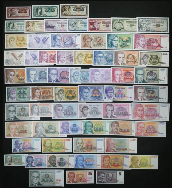 YUGOSLAVIA Set - 62 different period Notes Dinara 1968-1994 HYPERINFLATION (UNC)
