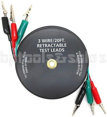 3 Wire20-ft. Retractable Test Leads 18 Gauge Alligator Clips In Reel