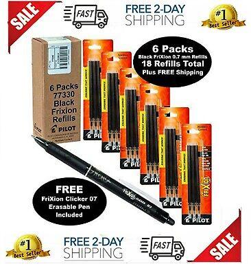 Pilot Frixion Pen Refills 0.7 Mm Fine 77330 Black Gel Erasable Ink 6 Packs Of