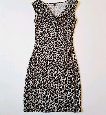 Loft Ann Taylor Women's Leopard Print Dress Ruched Front Size XS