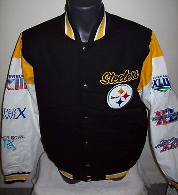 Pittsburgh Steelers 6 Time Super Bowl Championship Jacket Sewn Logos M L Xl 2X