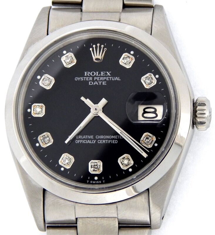 Mens Rolex Date Stainless Steel Watch Black Diamond Dial Oyster Style Band 1500