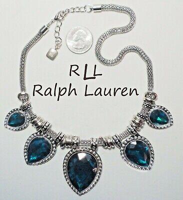 Stunning Signed RLL RALPH LAUREN Dark Blue Crystal Bib Slide Mesh Necklace ST