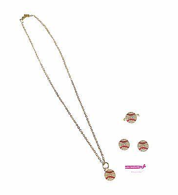 (Baseball Set Earrings Ring Necklace Crystal Rhinestone Silver Stud Mom Post)