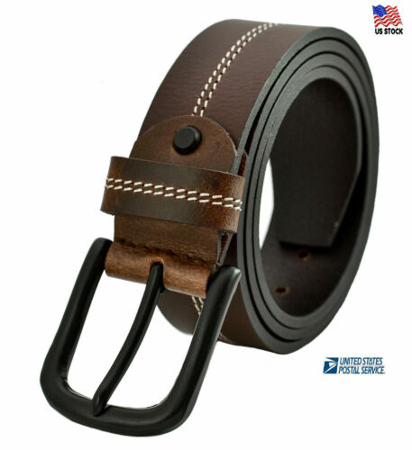 Mens Genuine Leather Belt Belts Casual With Pin Buckle Brown Black Tan Usa Stock