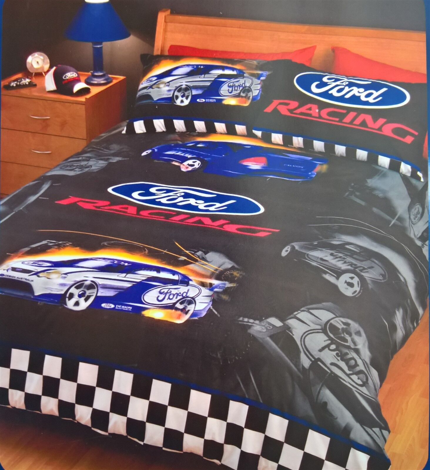 Ford Racing Single Bed Quilt Cover Set Is Brand New In Packet The Pack Contains  Quilt Duvet Cover Cm X Cm  Cm X Cm