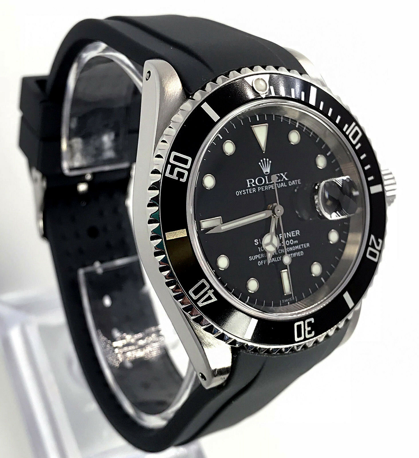 Rubber Dive Strap For Rolex Submariner Black 20mm Curved End