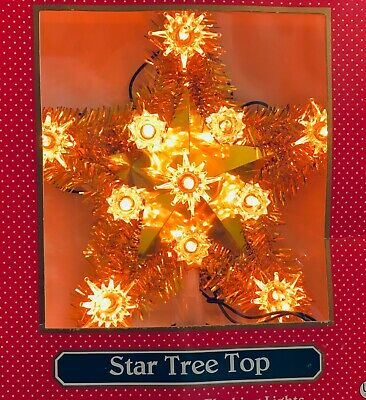 "Vintage Tree Topper Bright Gold Tinsel Star Gold Lights 7"""