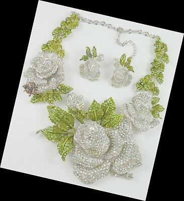 HUGE Rose Necklace Pierced Earrings Set Stunning  made with Swarovski Crystal