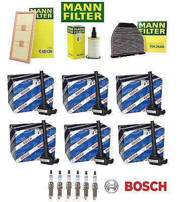 Mercedes E350 4Matic 14 Mann Tune Up Kit Spark Plugs Cabin Air Oil Filters Coils