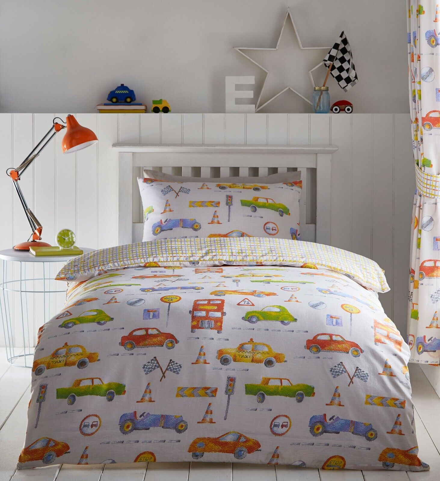 CARS Motor Transport Kids Car Colourful Reversible Duvet Cover Set Bedding Range