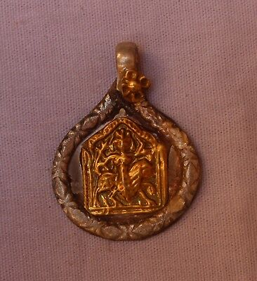 OLD TRIBAL SOUTH INDIAN GODDESS SILVER WITH GOLD PLATED AMULET PENDANT S 654