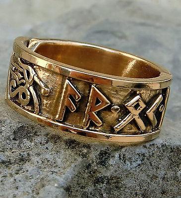 Aktion Runen Ring Bronze  52-60  Mittelalter AR OK FRIDR Runenring Wikingerring