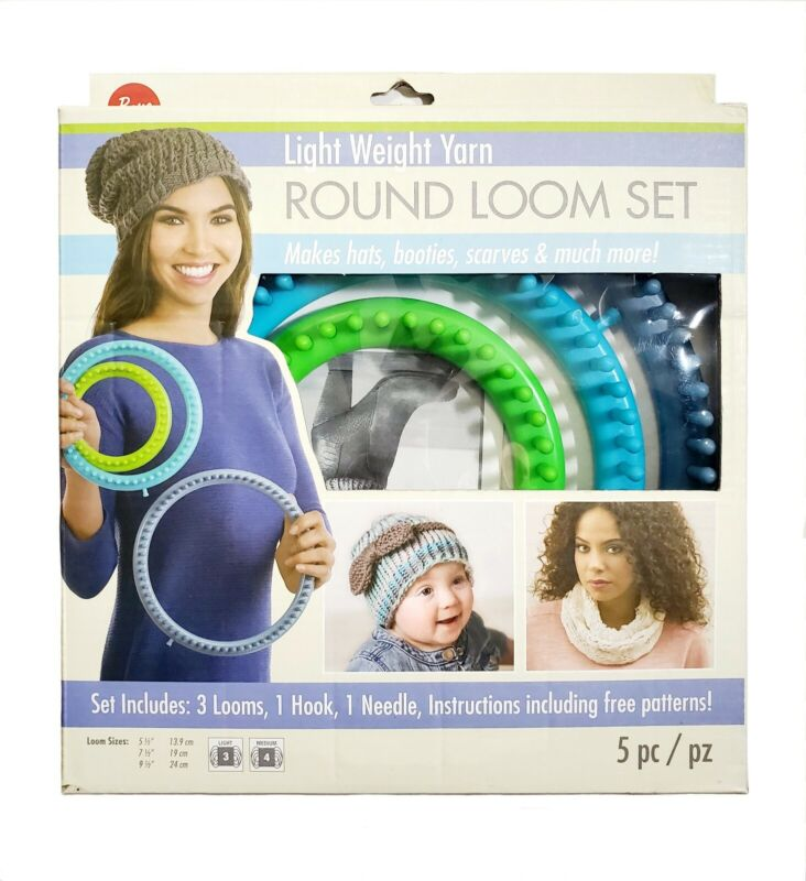 Boye Circular Round Loom Set Light Weight Yarn (3 Looms 1 Hook 1 Needle Pattern)