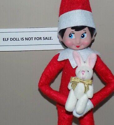 CHRISTMAS ELF PROPS GOLD BOW PLUSH PET BUNNY RABBIT ON THE SHELF ACCESSORY TOYS