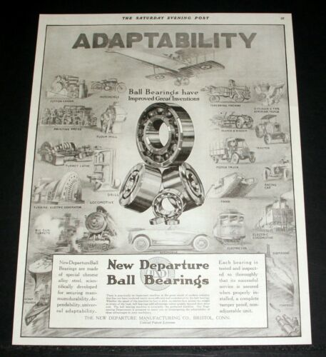 1918 OLD MAGAZINE PRINT AD, NEW DEPARTURE BALL BEARINGS, UNIVERSAL ADAPTABILITY!