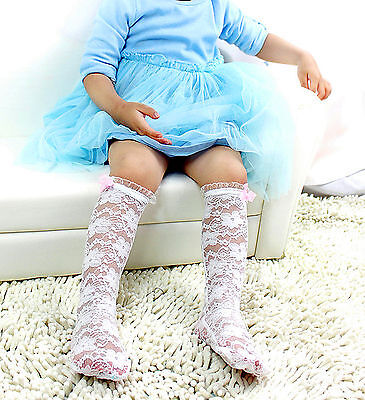 Girl Kid Child Princess White/pink Lace bow thigh High Socks STOCKINGS 2-6year ()