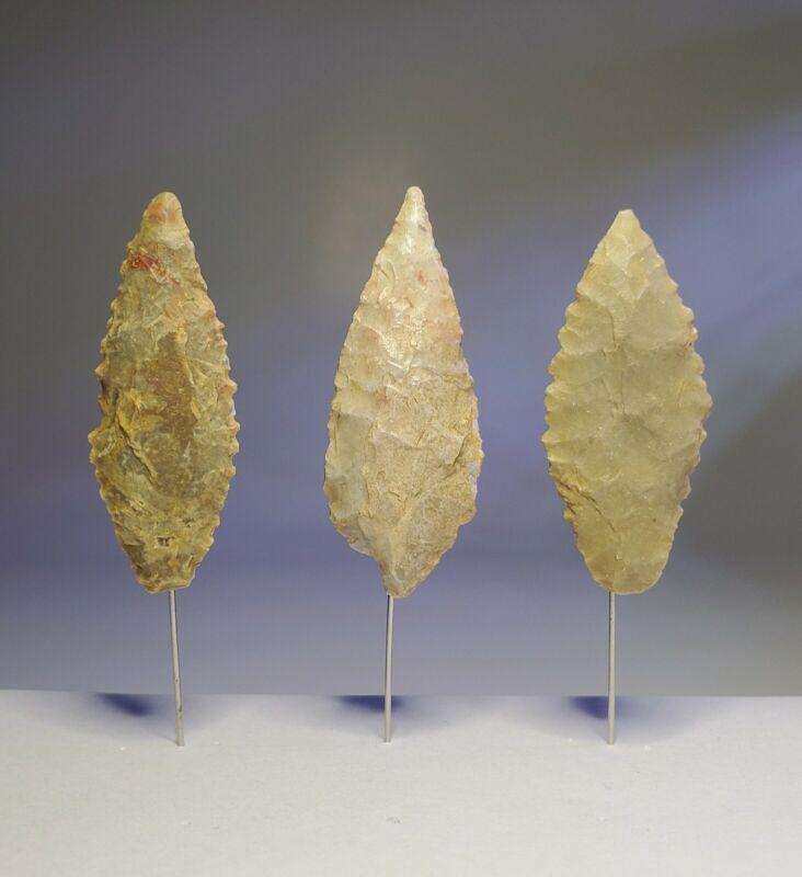 3 Authentic Indian Artifact Neolithic Arrowheads Sahara Desert Bird Points