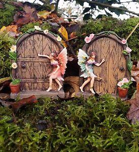 2 Fairy Door Secret Garden Magical Statue Ornament Christmas Gift Set Figurine