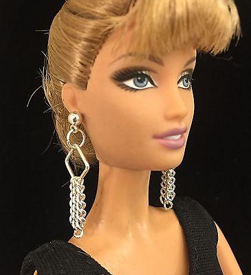 Barbie Jewelry Silver Tassel Earrings for Fashion Royalty, Silkstone, Model Muse