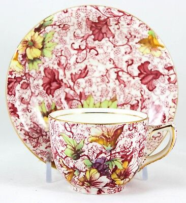 VINTAGE SMALL CUP & SAUCER ROYAL WINTON CHINA ENGLAND DORSET PINK CHINTZ GOLD