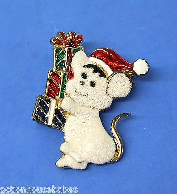 """Beautiful Vintage Glitter Enamel Christmas Mouse Gold-tone 2"""" Tall Brooch Pin"""