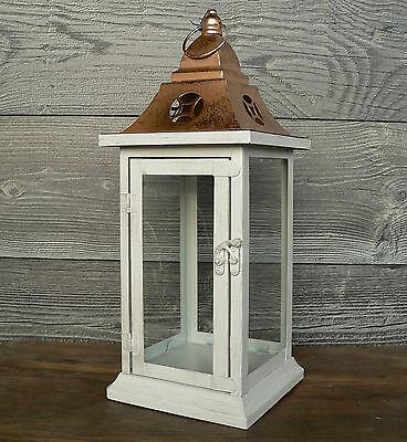 Kupfer-glas (Laterne Metall weiß kupfer Glas Metalllaterne Weihnachten 40cm Advent Hochzeit)