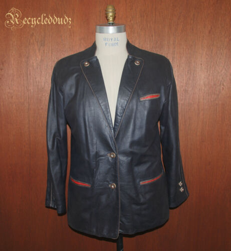 Bavarian Leather Blazer Jacket sz 42 Trachen Loden Hunting B22