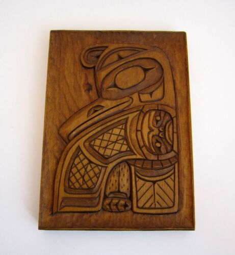 """RAY WESLEY Tsimshian Northwest Coast Carved Wood Placque """"Thunderbird & Sun"""""""