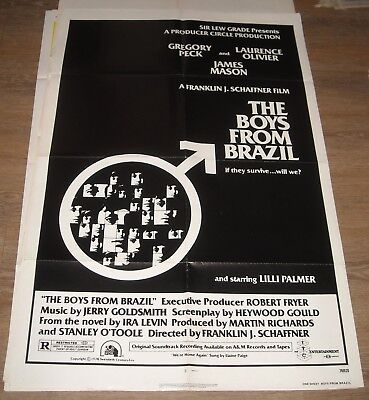 1978 The BOYS from BRAZIL 1 SHEET MOVIE POSTER NAZIS GREGORY PECK JAMES MASON