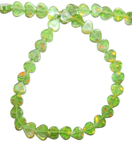 "G3474 Green with Multiple Flowers 8mm Flat Heart Millefiori Glass Beads 15"""