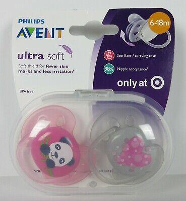 Philips Avent Ultra Soft Pacifier 6-18M -Panda/Heart - 2PK - Brand New