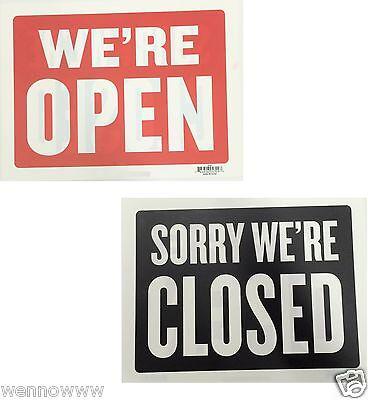 2 Pcs  Were Open Sorry Were Closed 9x12 Plastic Sign