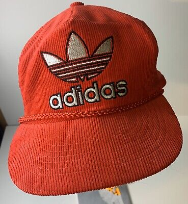Vintage Adidas Snapback Hat Corduroy Rare 80s Trucker Type Red Free US Shipping