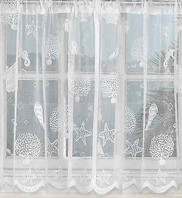 Reef seashells sheer lace kitchen curtains White or Ivory - Brand NEW (Lace Kitchen Curtains)
