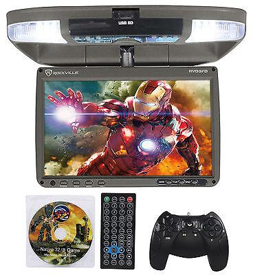 "Rockville RVD9FD-GR 9"" TFT Grey Flip Down Car DVD Monitor w/ USB/SD/Video Games"