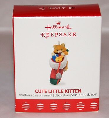 MINIATURE Hallmark 2017 Cute Little Kitten Ornament  FAST SHIP STURDY BOX