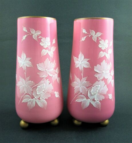PAIR Victorian Art Glass VASES - PINK with WHITE Enamel Flowers - GOLD Ball Feet
