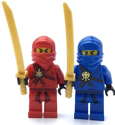 LEGO LOT OF 2 NINJAGO MINIFIGURES JAY KAI NINJA FIGS W/ GOLD KATANA WEAPONS REAL