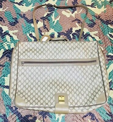 Vtg Gucci Guccismo Logo Beige Leather Garment Bag Nice Tom Ford Monogram Luxe