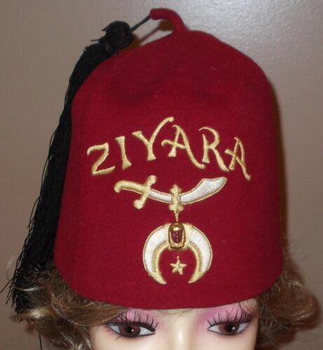 VTG Red ZIYARA Shriners Masonic Fraternal Felt Wool HAT MORGAN PUHL & MORRIS