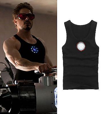 Iron Man Tony Stark Unterhemd Muskelshirt für Herren Schwarz Nächtig Leuchtend ()