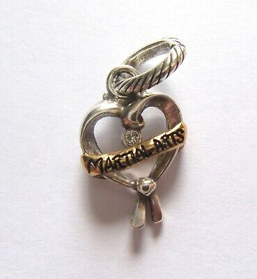 Brighton MARTIAL ARTS  HEART Charm--open heart crystal -Banner says Martial arts Crystal Open Heart Charm