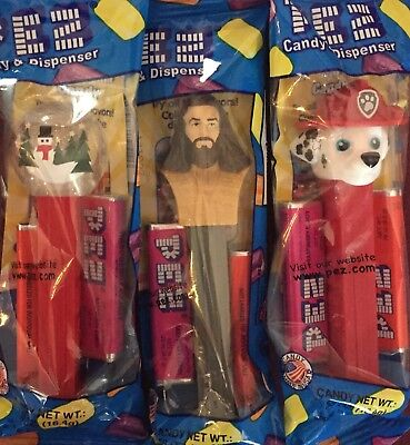 PEZ - 2017 New Releases - Snow Globe, Aquaman, Paw Patrol Marshall Lot of 3 MIB