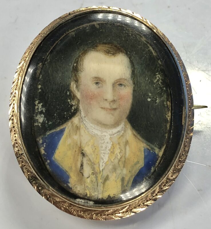 Antique 18th Century Oval Gold Frame Fine Miniature Portrait of Gentleman Pin