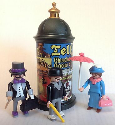 Playmobil Advertising Kiosk & (3) Victorian Dollhouse Figures / NEW