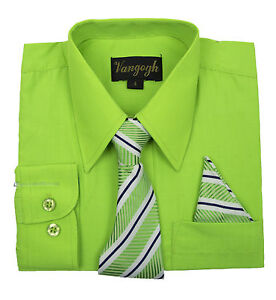 Product Features Handsome boy's long sleeve button-down dress shirt with a coordinating necktie.