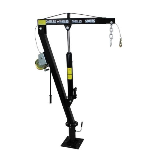 Hydraulic Pickup Truck Jib Cran, 2000 LB Retracted Capacity with Hand Winch
